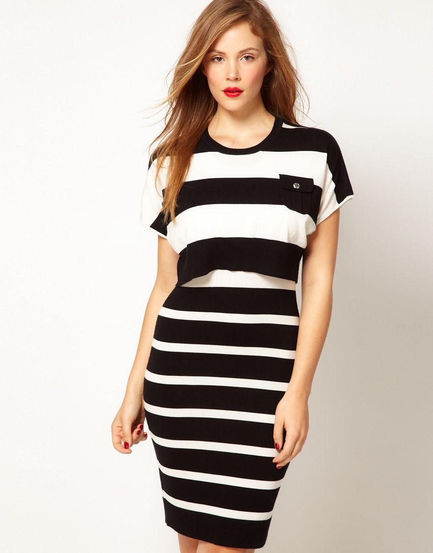Bold stripes . knitted dress