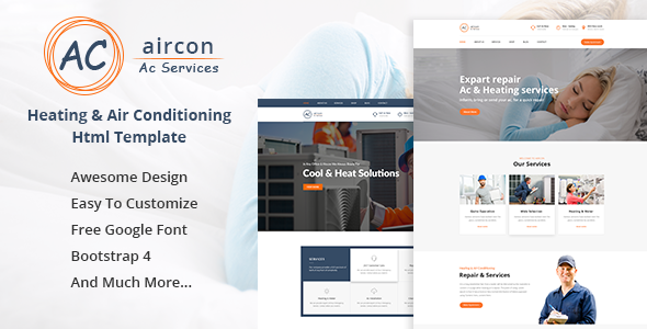 Aircon Air Conditioning Services Bootstrap 4 Template, a