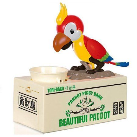 Stealing Coin Cat Money Box Piggy Bank Savings Box Red Parrot