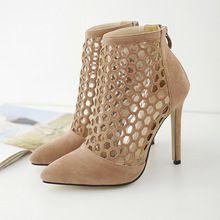 Zapatos de tacón alto con punta de gamuza de las mujeres bombas de tobillo ecG53