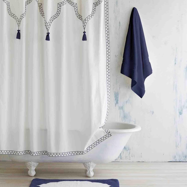 White Indigo Iswar Shower Curtain Boho Shower Curtain Indigo