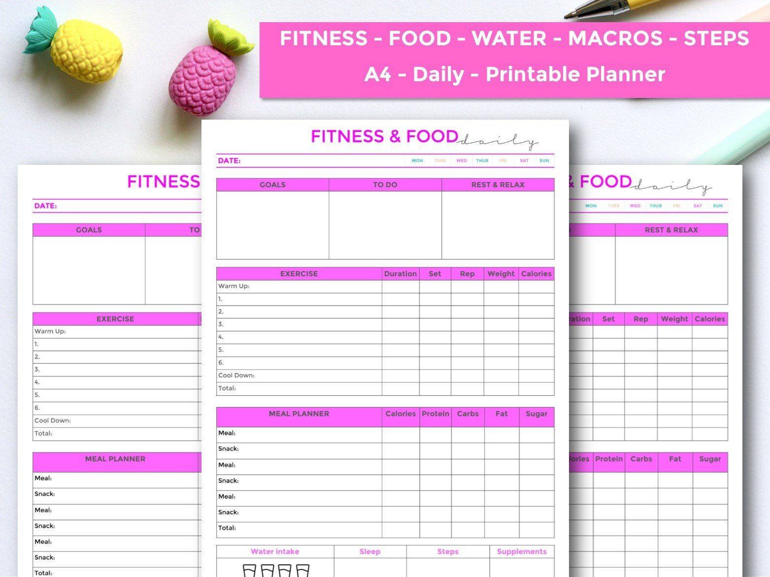 Daily Fitness Printable Planner Workout Planner