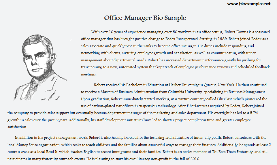 Office manager Bio Sample | Bio Examples | Personal