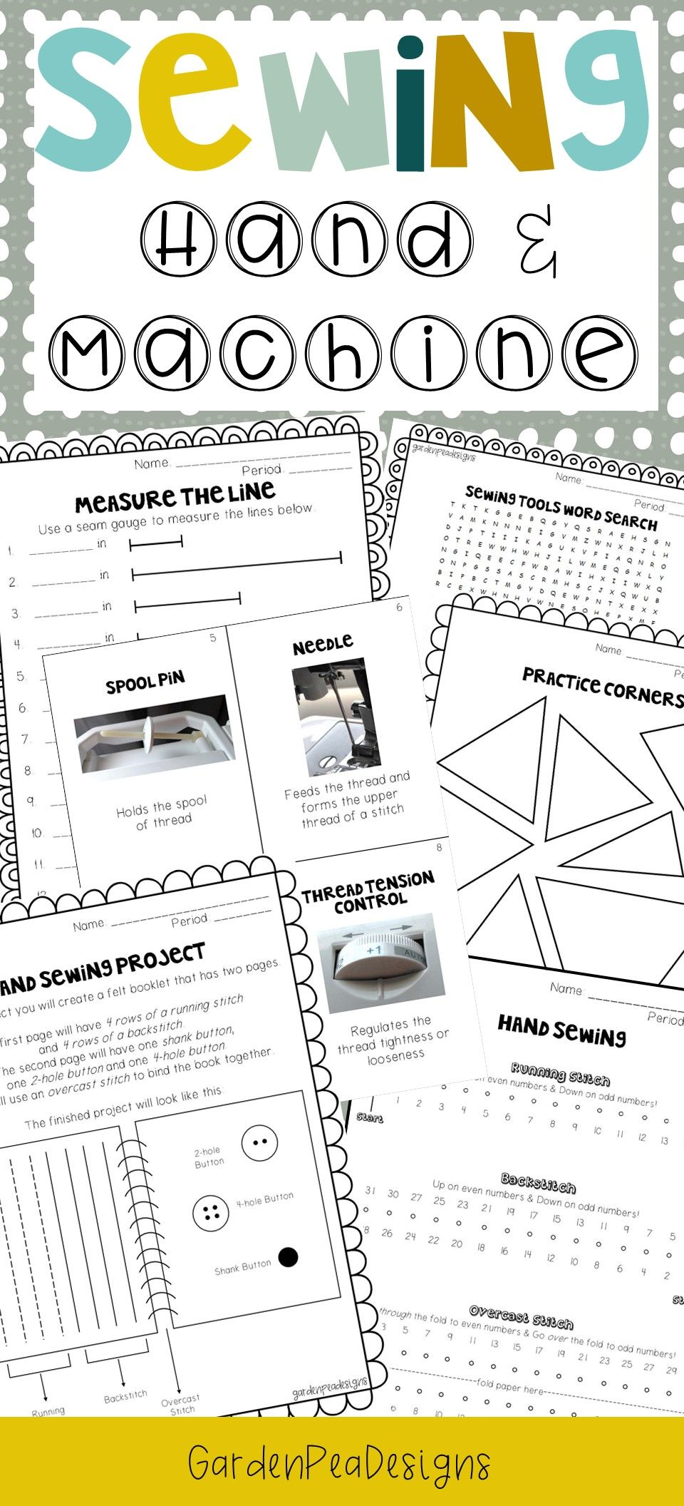 Printable Sewing Practice Sheets With Images Teaching Sewing