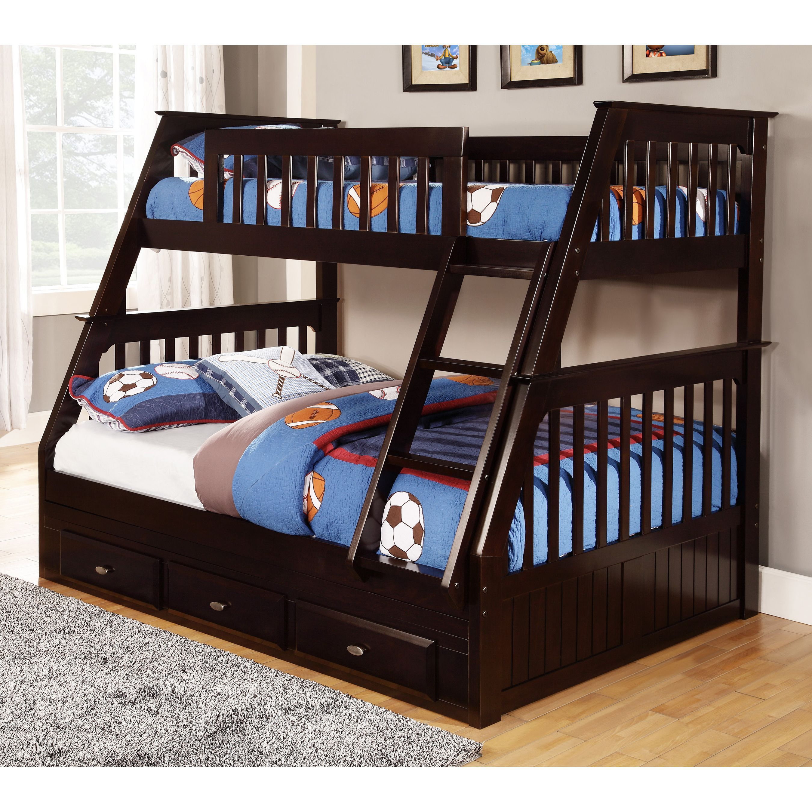 Espresso Pine Wood TwinoverFull Bunk Bed with Drawers