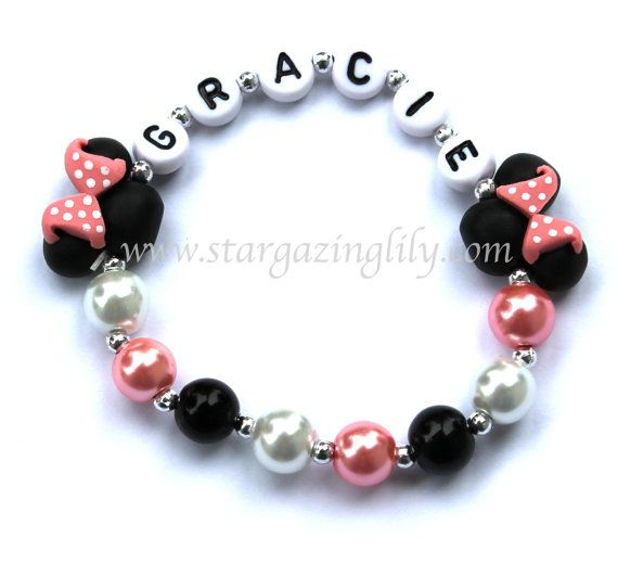 Light Pink Minnie Mouse inspired Jewelry Hypoallergenic Personalized Name Bracelet Toddler Kids mini mouse ears Pink Black Polka Dots