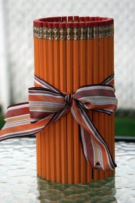 Pencil Vase for a teacher gift. Super cute and easy for kids to do. #eceappreciationgiftideas