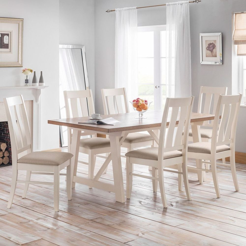 6 Seater Dining Set Rectangular Table White Padded Chair