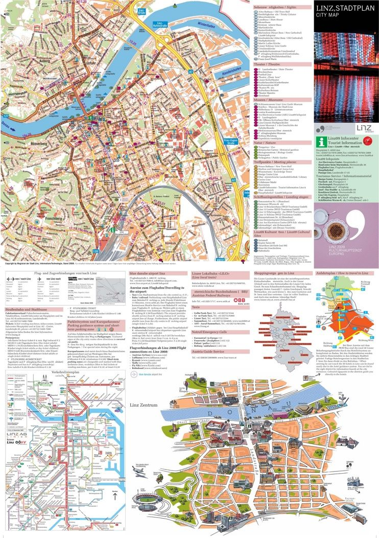 Linz tourist attractions map Maps Pinterest Austria and City