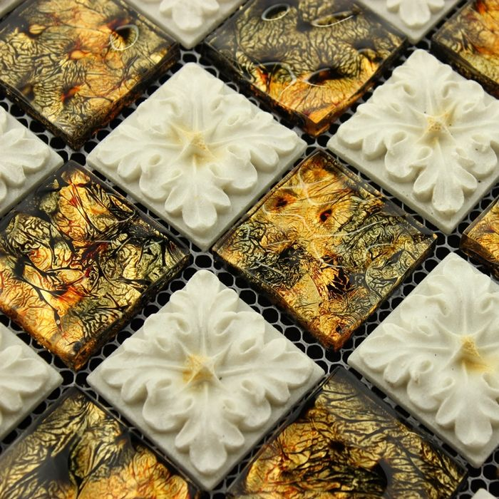white mixed golden carved plexiglass glass mosaic tiles bathroom ...
