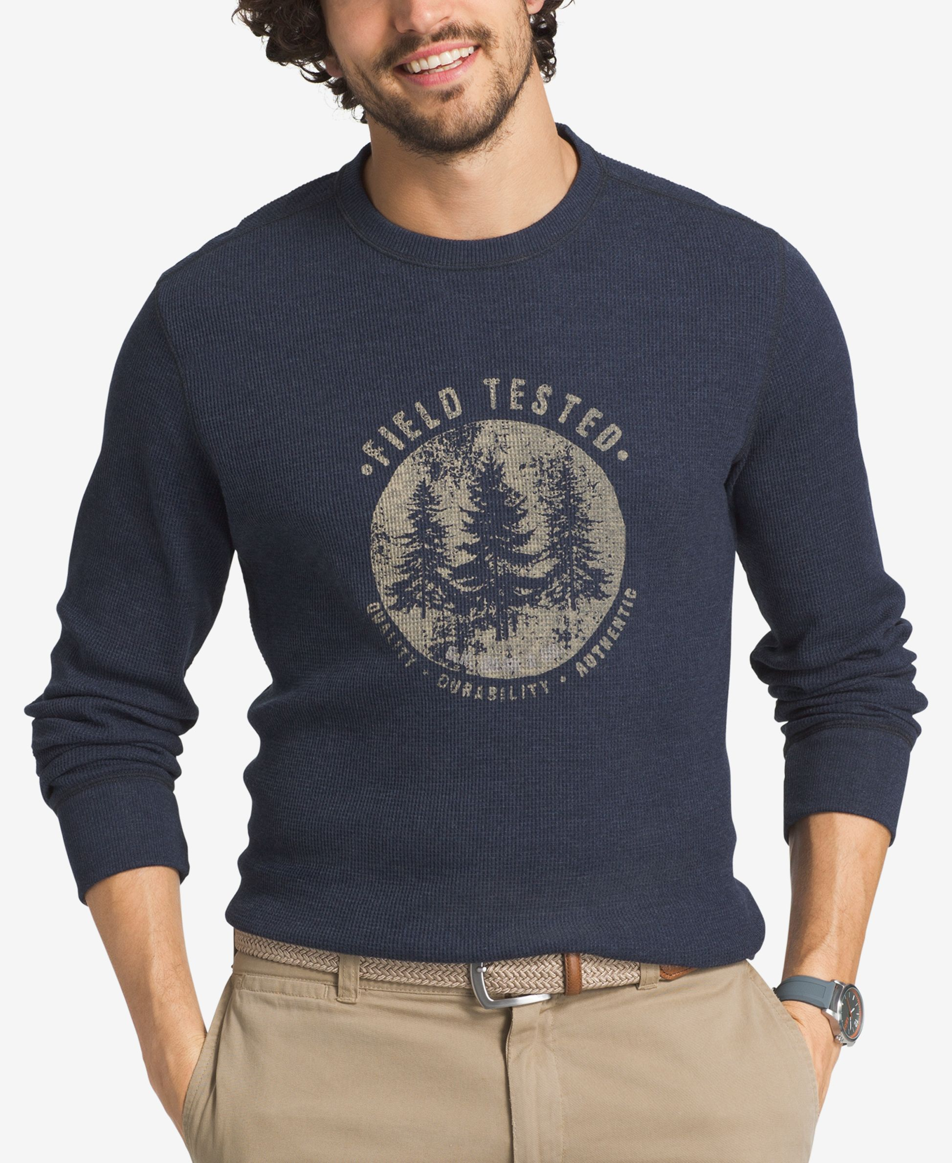 G.h. Bass & Co. Men's Big and Tall Thermal Knit Graphic-Print Shirt