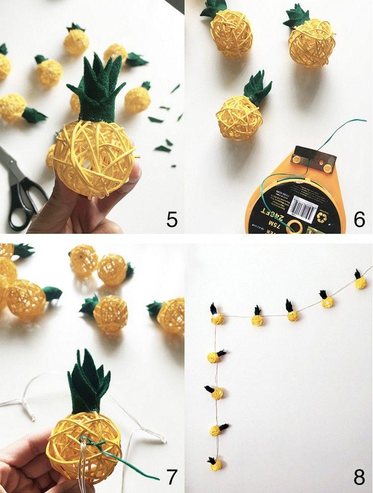 Deko Diy lichterkette basteln garten wand ananas kugeln lichterketten diy