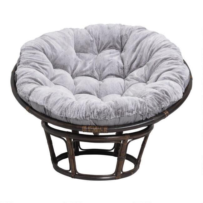 Gray Faux Fur Papasan Chair Cushion Papasan Chair Papasan Chair Cushion Chair Cushions