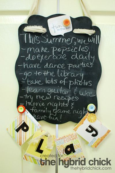 """Adorable summer """"to-do"""" chalkboard project."""
