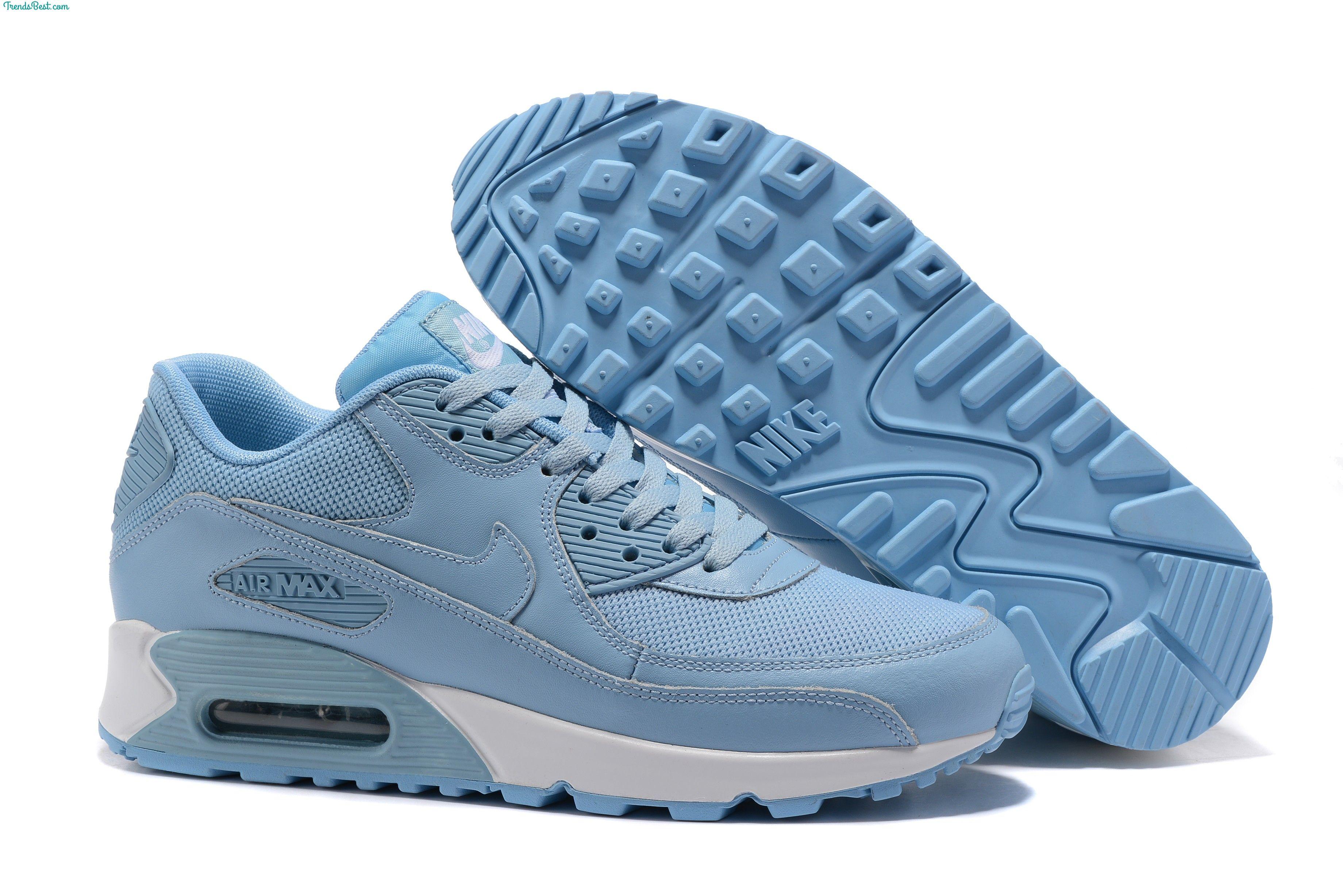 Mens Nike Air Max 90 Light Blue White Shoes | Nike air max ...