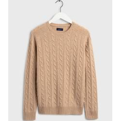 Photo of Gant Lambswool Pullover mit Zopfmuster (Beige) GantGant
