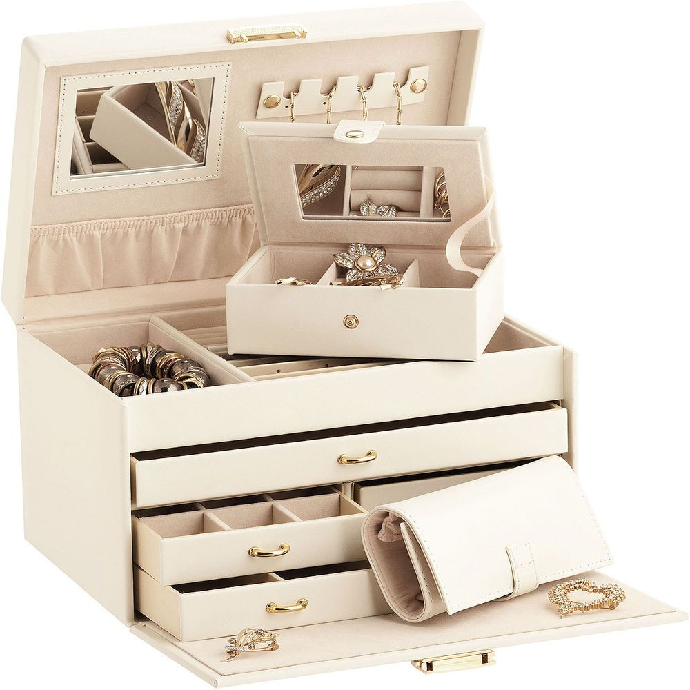 Duchess Ivory Bonded Leather Jewellery Box Traveller Jewellery