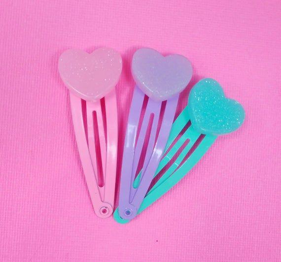 Cute Heart Hair Clip Set Kawaii Pastel Pink Purple Teal Fairy Kei Hair Clips Set Of 3 In 2020 Kawaii Hair Clips Hair Clips Heart Hair