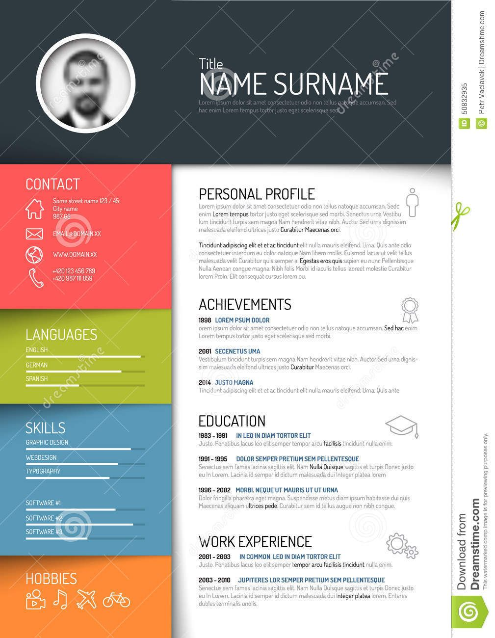 Cv / Resume Template Download From Over 62 Million High