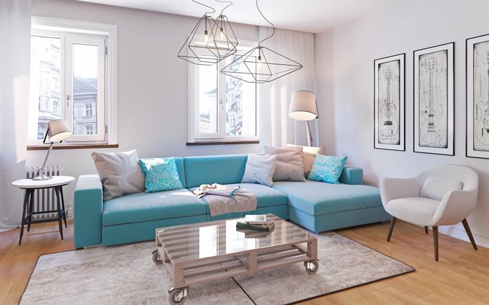 Download Wallpapers Living Room Modern Design Stylish Interior Bright Living Room Blue Sofa Besthqwallpapers Com Blue Living Room Decor Blue Living Room Beige Living Rooms