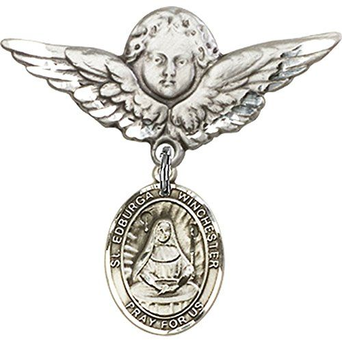 Sterling Silver Baby Badge with St Edburga of Winchester Charm and Angel wWings Badge Pin 1 18 X 1 18 inches * You can find more details by visiting the image link.(This is an Amazon affiliate link and I receive a commission for the sales)