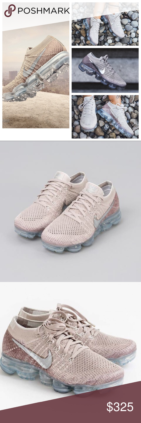 689e6eb7c2 NIB Sold Out Nike VaporMax in String Blush Chrome Mixing hues of tan and  pink to