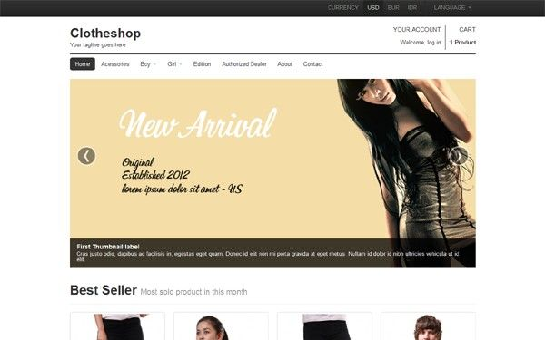 Clotheshop Responsive Shopping Cart Best WordPress Magneto - Responsive shopping cart template
