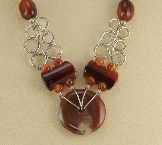 87a36b22b Carnelian and Agate Necklace on Sterling Silver Wire-OOAK ...
