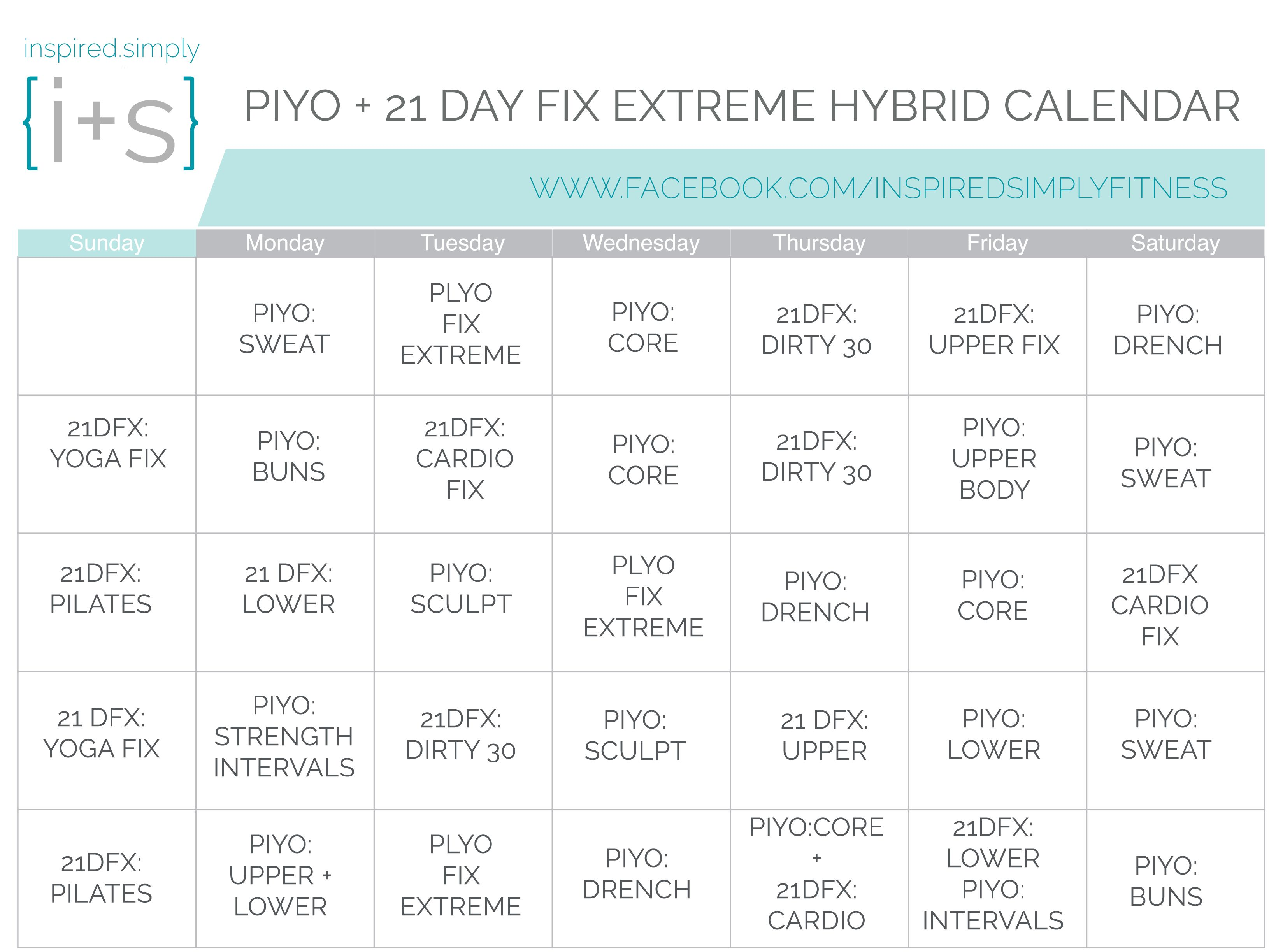 piyo and 21 day fix extreme hybrid workout calendar | hybrid