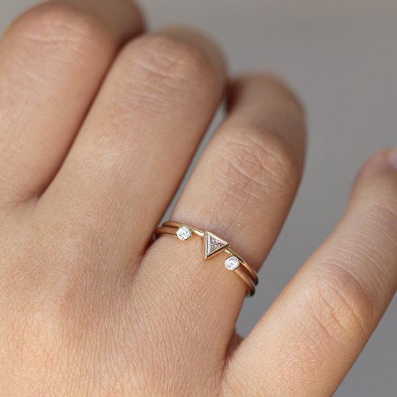 14k Gold Cuff Dual Tiny Diamond Ring  Triangle /& Round Diamond Ring  Diamond Wedding Ring