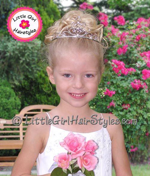 Toddler Tiara Updo Flower Girl Hairstyles Girl Hair Dos