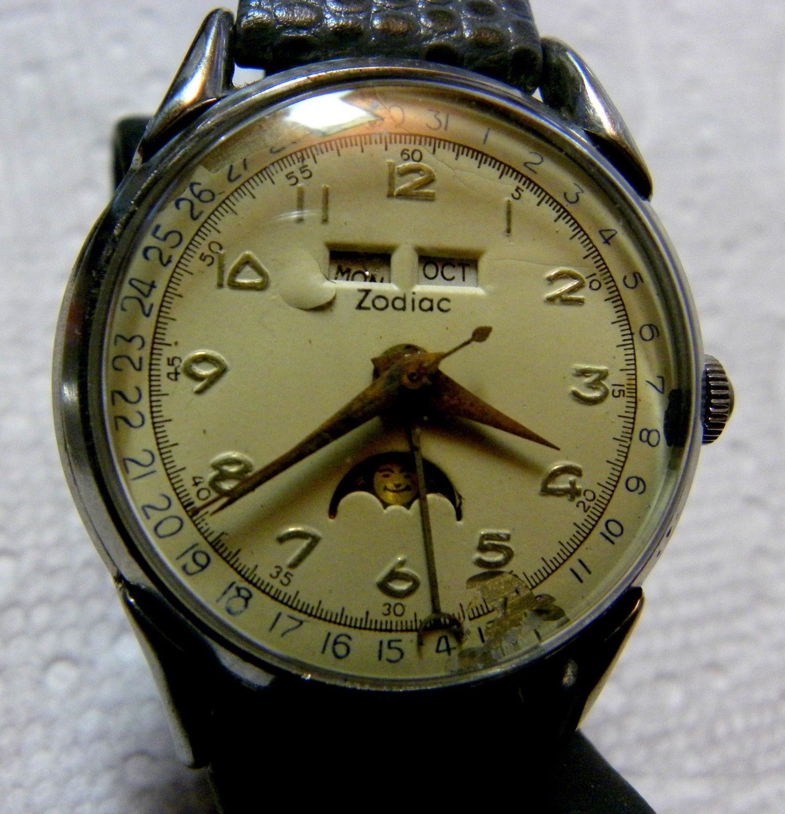 f52f400c2f7 Details about Zodiac Moon phase triple date vintage watch