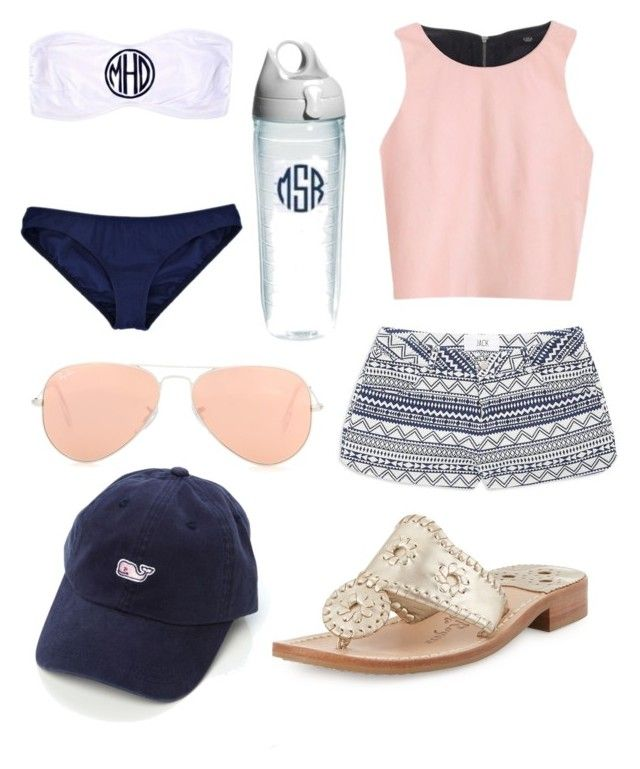 Beach Time by kaylaherring97 on Polyvore featuring polyvore, fashion, style, TIBI, BB Dakota, Jack Rogers, Vineyard Vines, Ray-Ban and Tervis