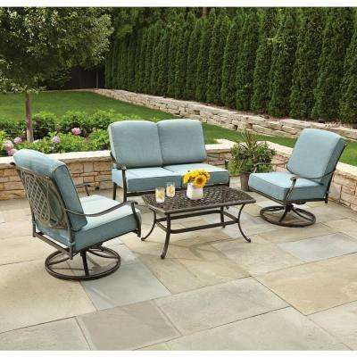 Belcourt 4 Piece Metal Patio Conversation Set With Spa Cushions
