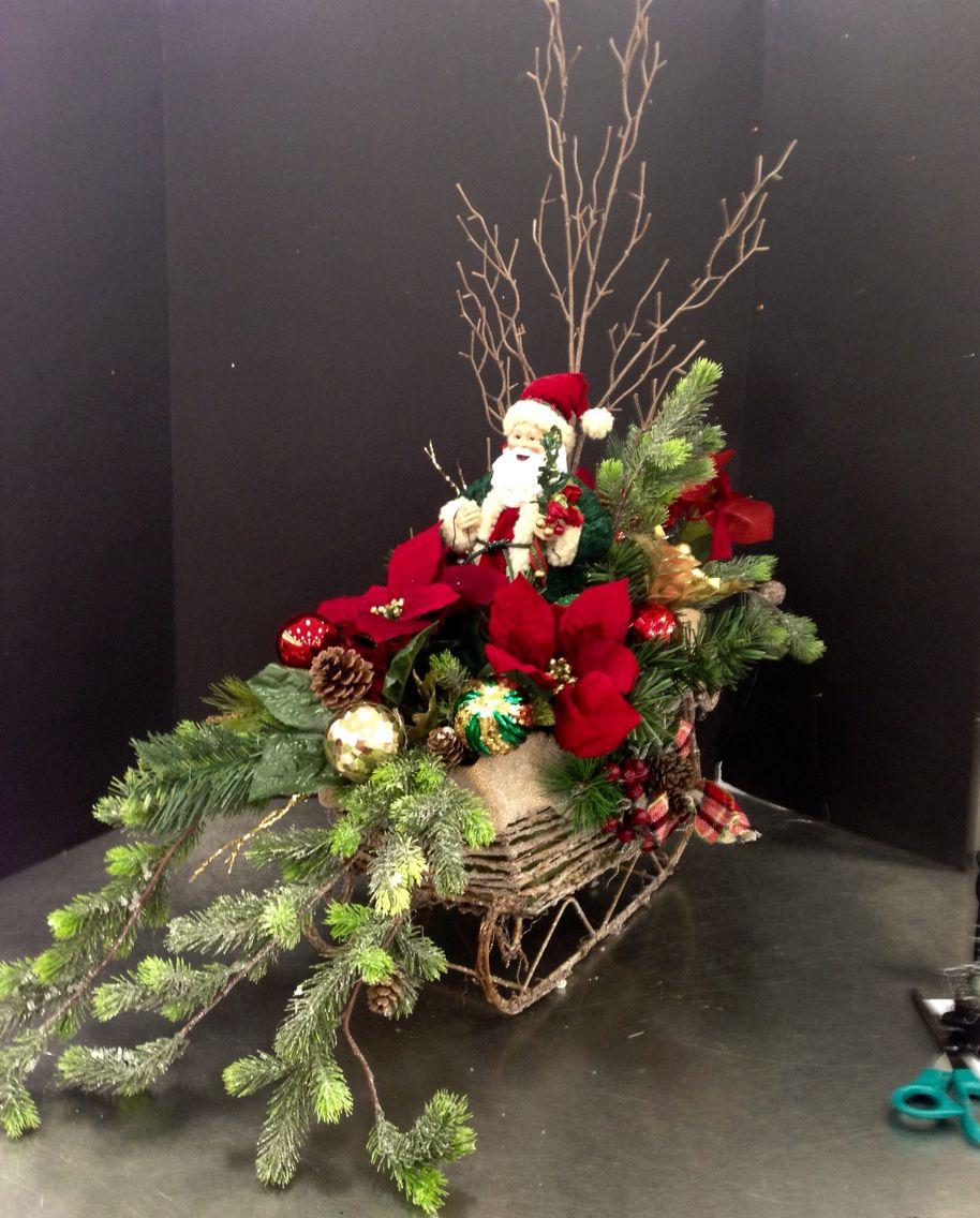 Large Santa Sleigh Christmas Arrangement. 2015 Laura A