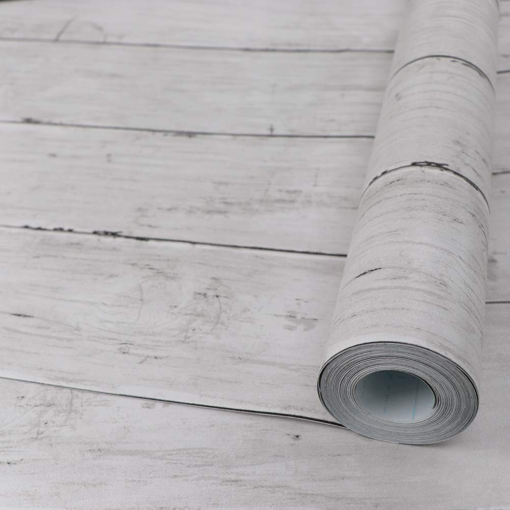 Amazon Com White Gray Wood Paper 17 71 In X 118 In Self Adhesive Removable Wood Peel And Stick Wallpaper Dec Peel And Stick Wallpaper Wood Wallpaper Grey Wood