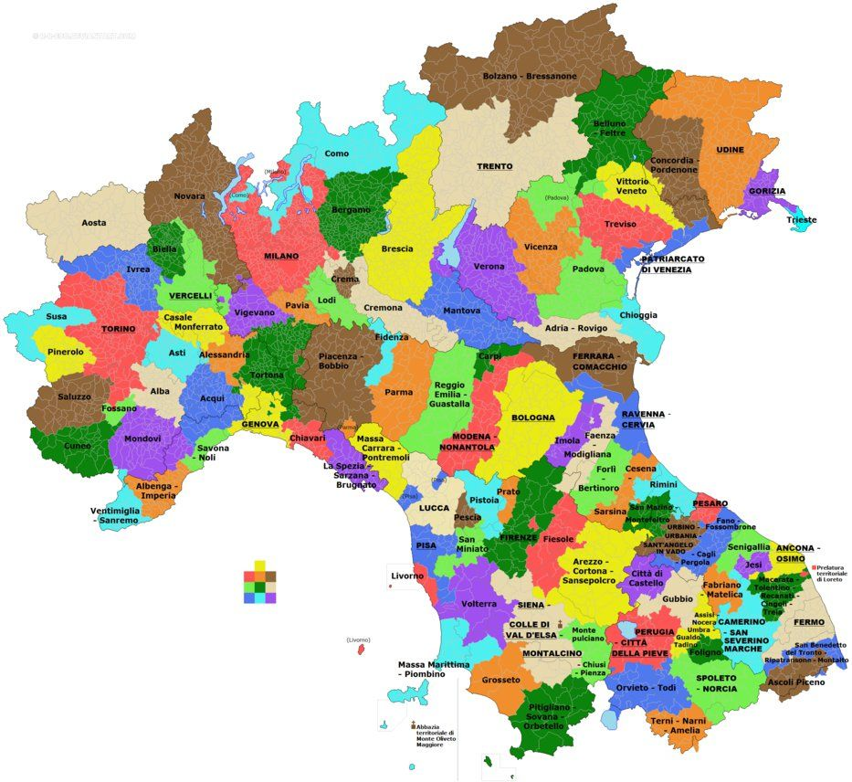 Catholic Dioceses In Northern And Most Of Central Italy MAPS - Us catholic diocese map