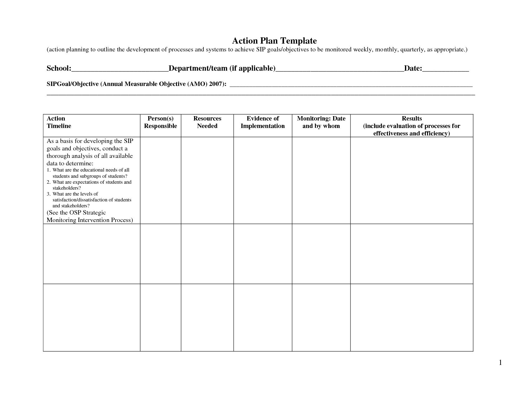 Business Action Plan Template Excel Smart Example Small Pertaining