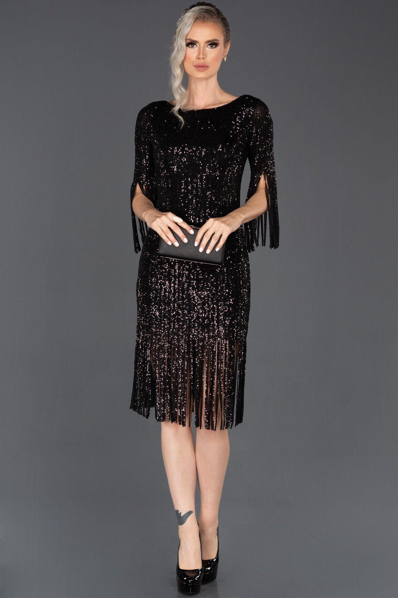 Siyah Kisa Puskullu Pul Payetli Davet Elbisesi Abk670 The Dress Elbise Moda Stilleri