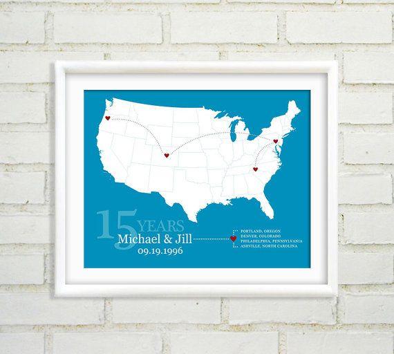 Personalized US Map Anniversary Gift Custom United States Travel - Personalized us travel map