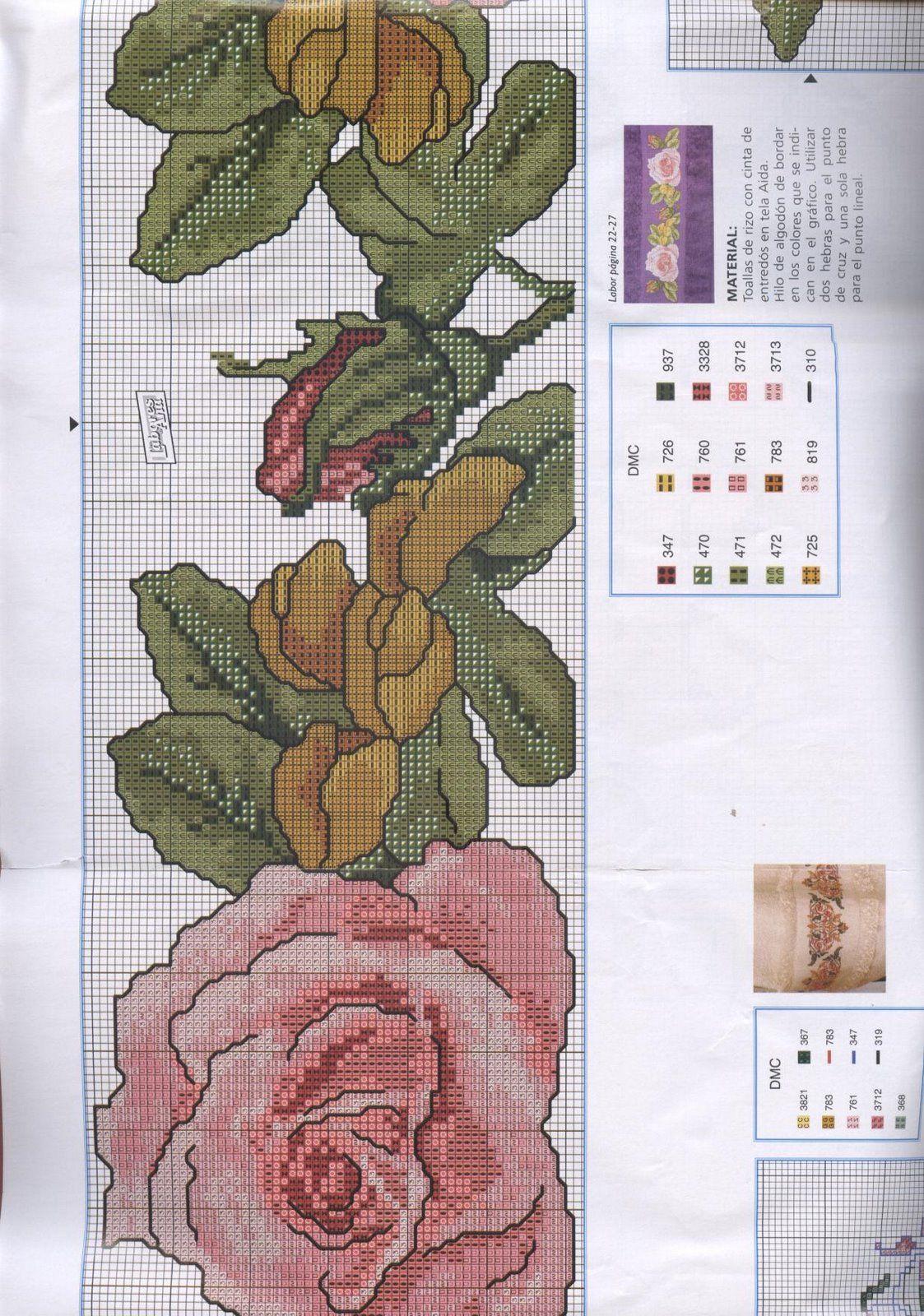 Schema punto croce Bordi-rosa-grande-3