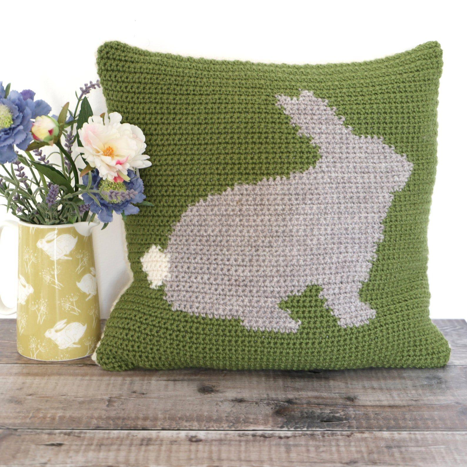 Bunny cushion crochet pattern rabbit pillow to crochet