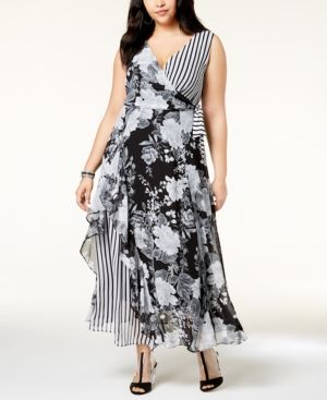 I.n.c. Plus Size Mixed-Print Maxi Dress, Created for Macy\'s ...