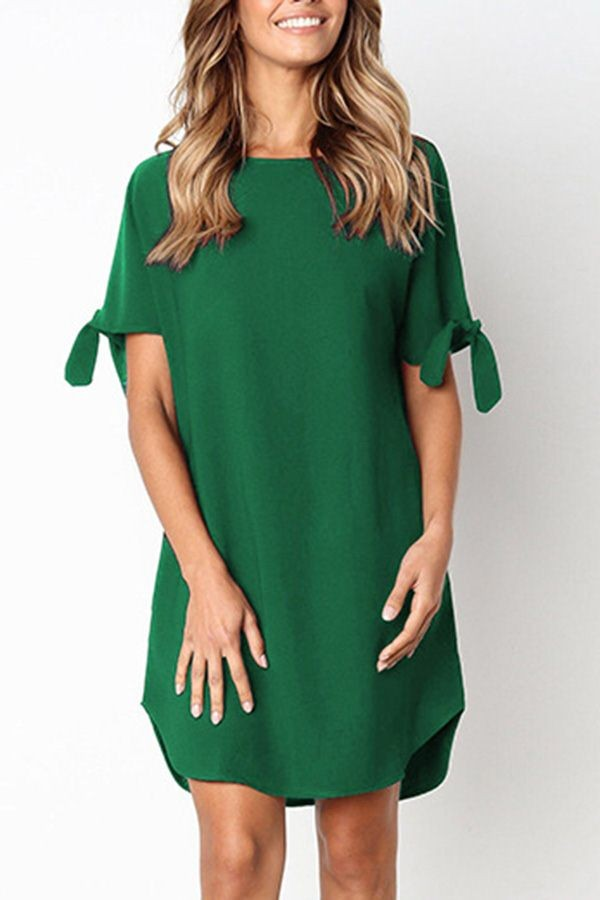 Green Slit Sleeve Round Neck Casual Shift Dress