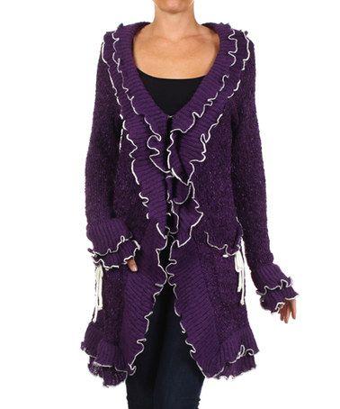 Love this Purple & White Ruffle Cardigan by Karen T. Design on #zulily! #zulilyfinds