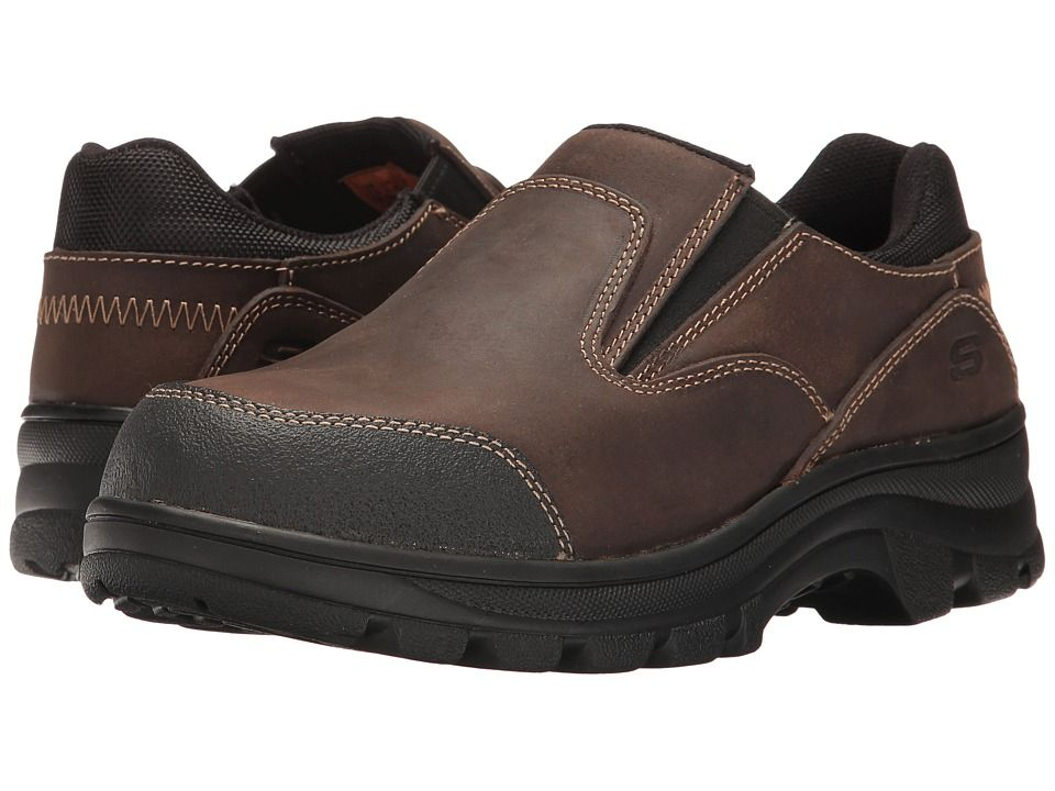 SKECHERS Work Workshire - Teays Women's Shoes Dark Brown Buffalo Crazyhorse  Leather