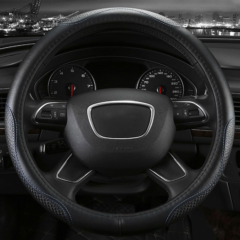 Genuine Leather Car Steering Wheel Cover Five Colors For Audi B5