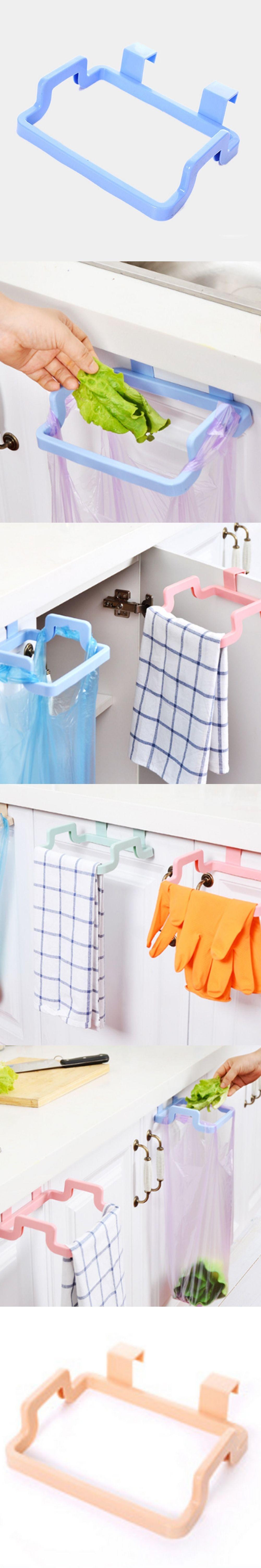 pcs cupboard door back trash rack storage garbage bag holder