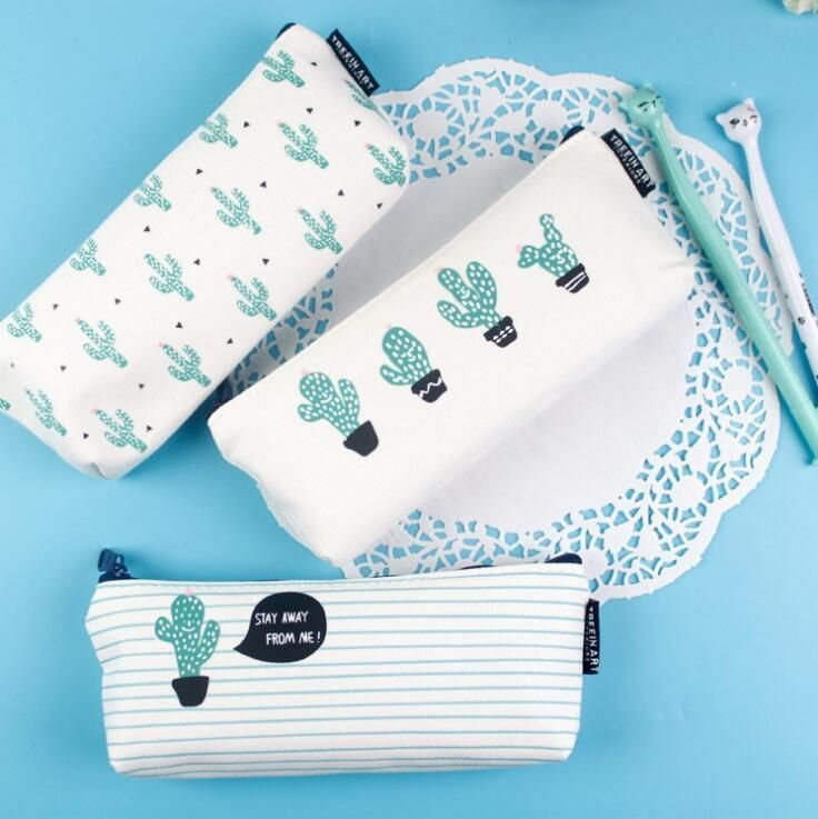 Cactus Pen Bag kawaii cartoon Succulents zip pouch purse cute kids pencil case