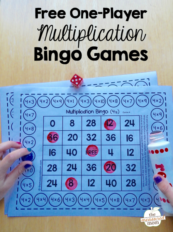 Free single-player multiplication bingo games | Multiplication facts ...